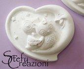 Cuore con Gufi in Polvere di Ceramica