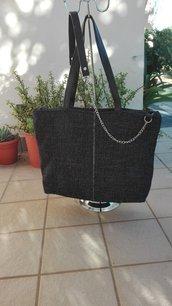 borsa a spalla, tracolla, borsa in tessuto tappezzeria, tote, grigio, grigio scuro, tracolla catena e pelle