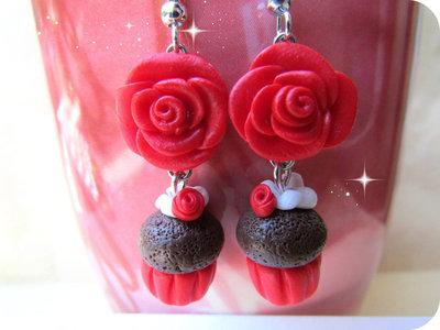 Orecchini Cupcake e Rosellina in Fimo