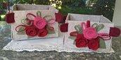 Cestino in feltro con tre rose di feltro