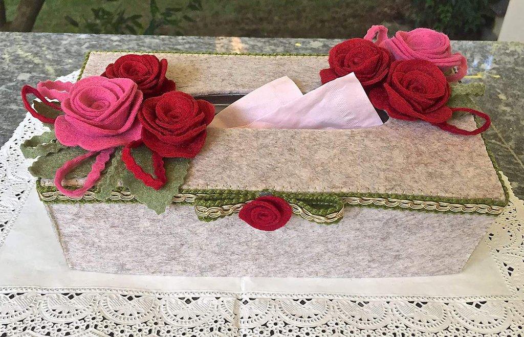 Scatola in feltro porta contenitore per fazzoletti di carta
