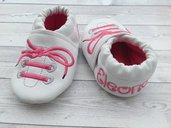 Scarpine ecopelle Stringhe personalizzate con nome - Bimba Neonata 3-6 mesi