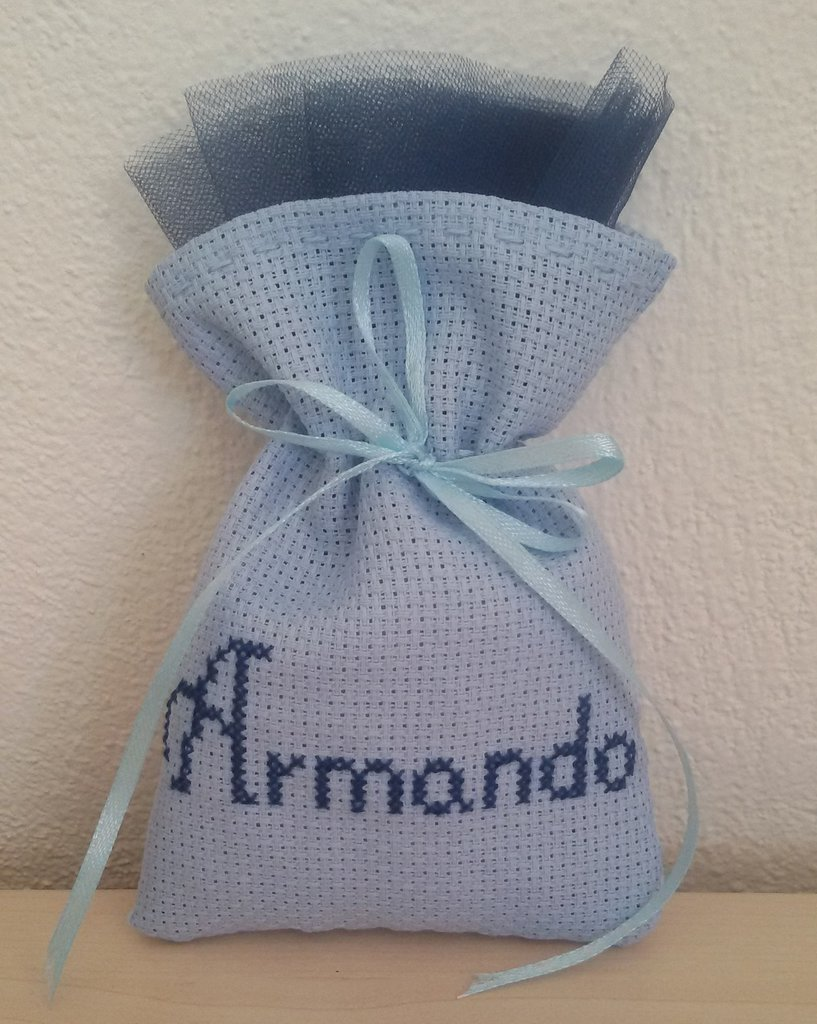 "Inserzione riservata n.70 sacchettini tela aida colorata ""Armando"""