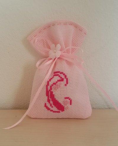 """Inserzione riservata """"n.50 sacchettini in tela aida rosa con ricamo madonnina"""""""