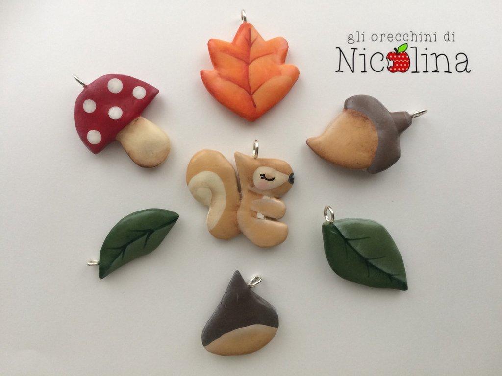 Set ciondoli AUTUNNO: scoiattolo, ghianda, castagna, fungo e foglie