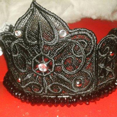 cerchietto per capelli corona principessa nero dark gothic