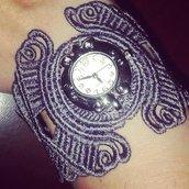 bracciale orologio in stile gothic in pizzo