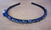 cerchietto per capelli  di rasso blu con strass e pietre