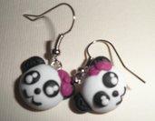 orecchini in fimo panda