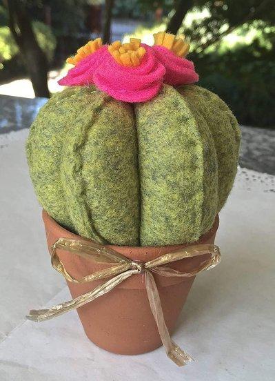 Cactus in feltro con fiori fucsia