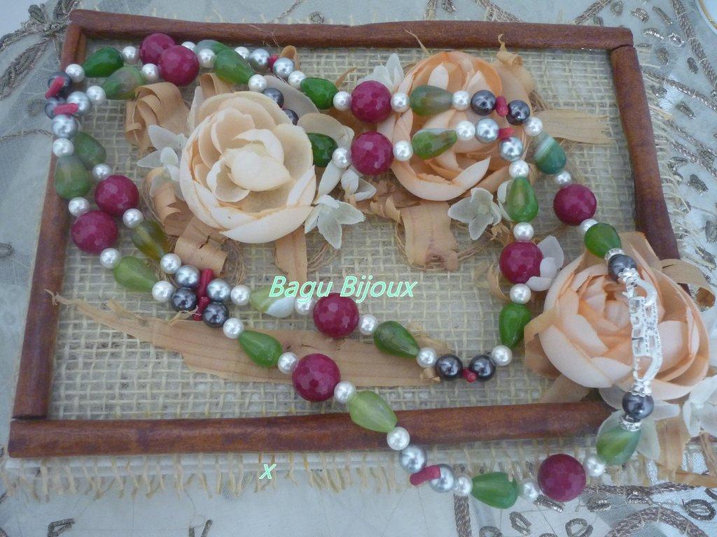 Collana lunga con perle di fiume, agata e radice di rubino
