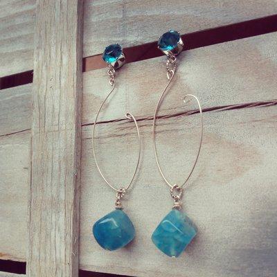 Orecchini azzurro e argento