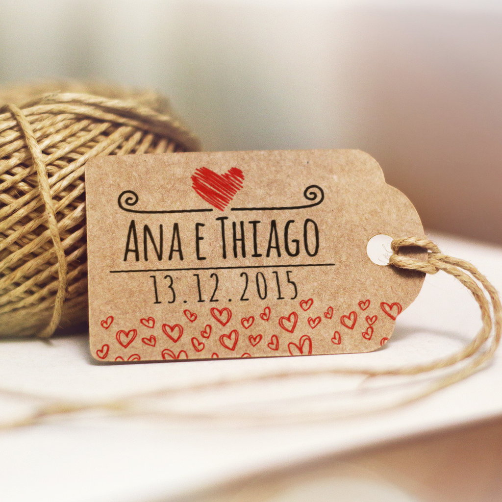 Tag matrimonio in carta craft (stile country chic)