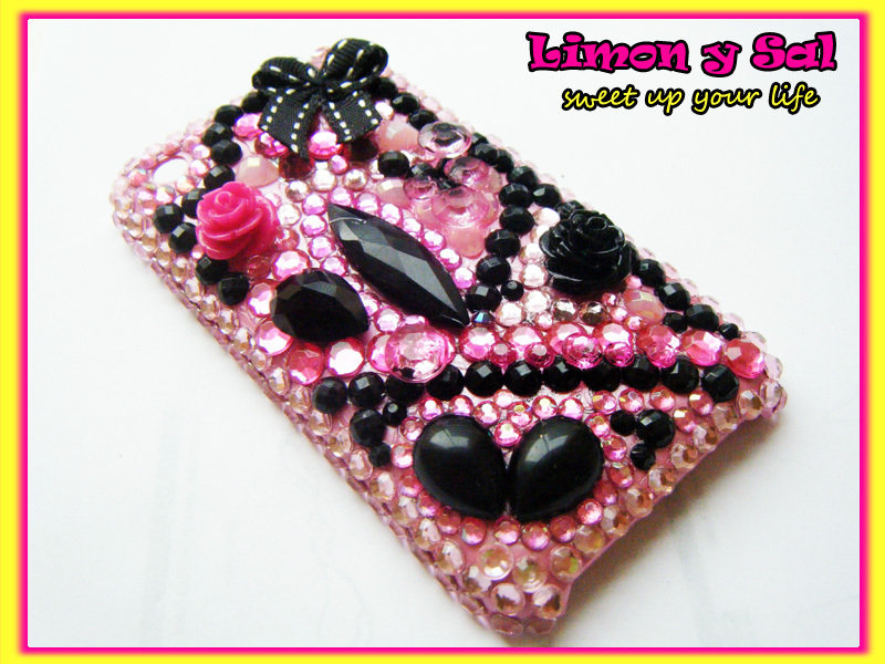 Cover Iphone 3 kawaii brillante cellulare decoden rosa nero phone apple