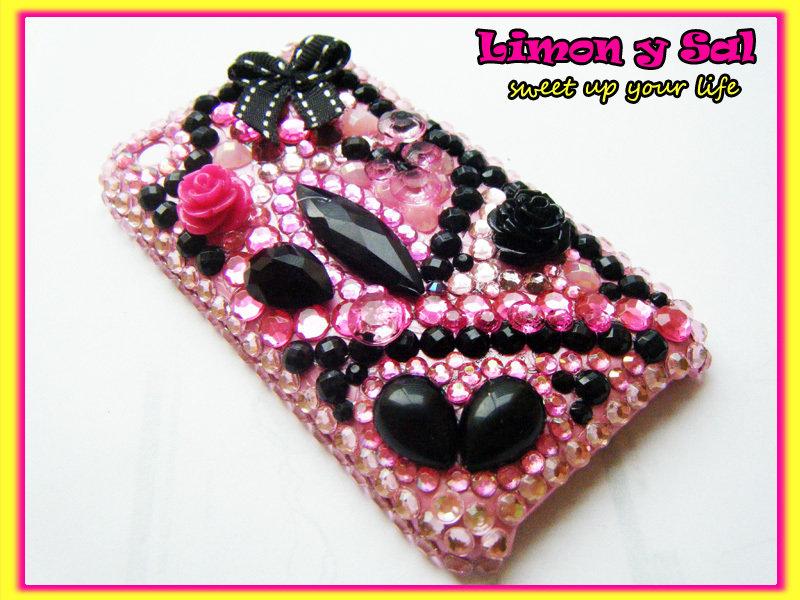 Cover Iphone 3 kawaii brillante cellulare decoden rosa nero phone apple