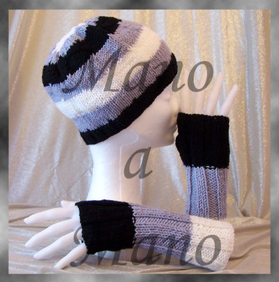 Set Cappello & Scaldamani - rigone bianco grigio nero