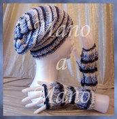 Set Cappello & Scaldamani - celeste grigio bianco sfumato