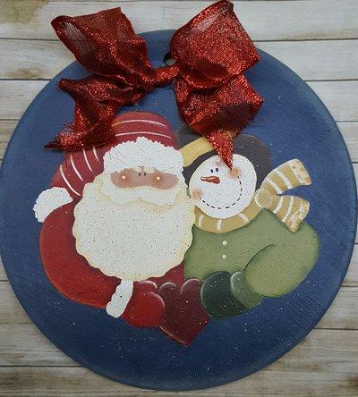 Fuoriporta con Babbo Natale e pupazzo di neve