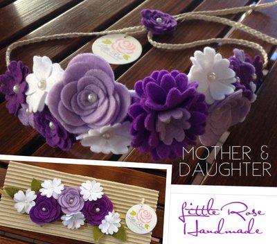 Kit di Coroncina e Fascia elastica a fiori per Mamma e Figlia by Little Rose Handmade