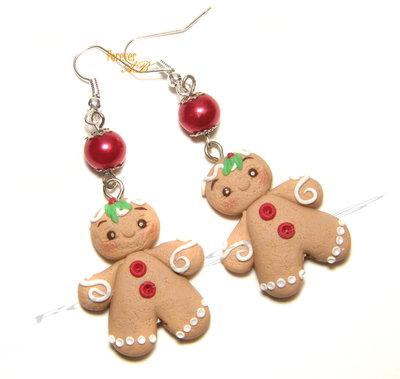 Orecchini pan di zenzero natale 2016 fimo natale idea regalo natalizi kawaii gingerbreadman
