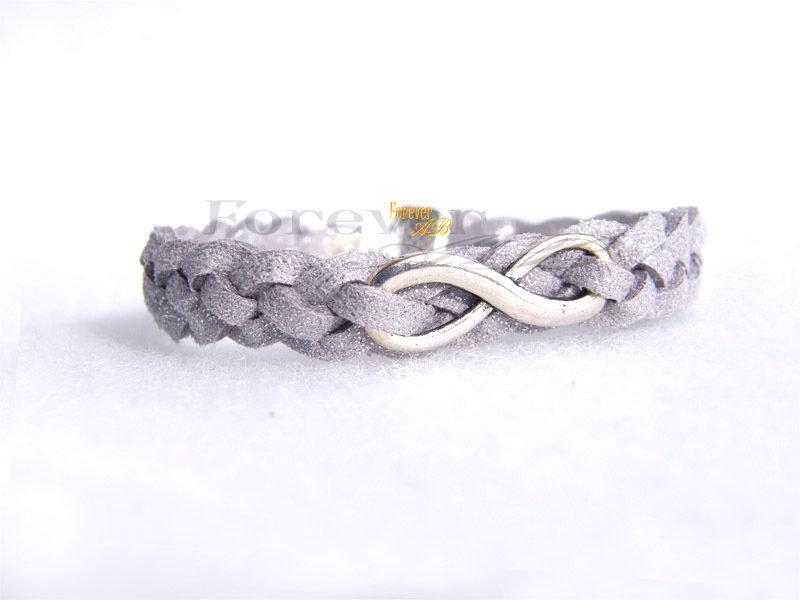 Bracciale intrecciato color argento con Infinito  idea regalo amore coppia natale