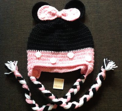 Cappellino Minnie con paraorecchie tg 3/4 anni
