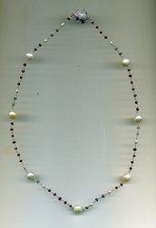 Collana a rosario in argento e grandi perle bianche d'acqua dolce