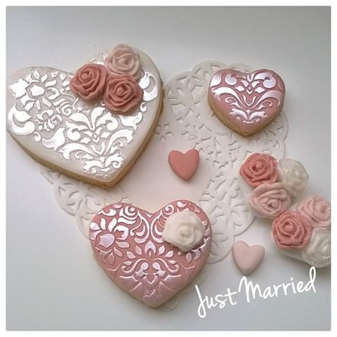 Biscotti Segnaposto Matrimonio.Lotto Di 10 Biscotti Decorati A Cuore Sweet Table Wedding