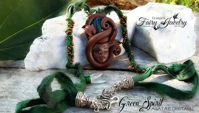 Collana fimo elfica agata viso druido seta perline pasta polimerica pietra dura
