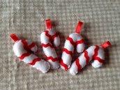 Il Natale in pannolenci: Bastoncino di zucchero