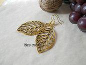 Orecchini pendenti stile vintage in metallo - Foglia Oro