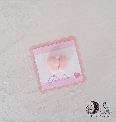 Card Art segnaposto battesimo bimba piedini etichetta quadrata smerlata rosa