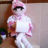 Bambola porta rotolo carta igienica per bagno