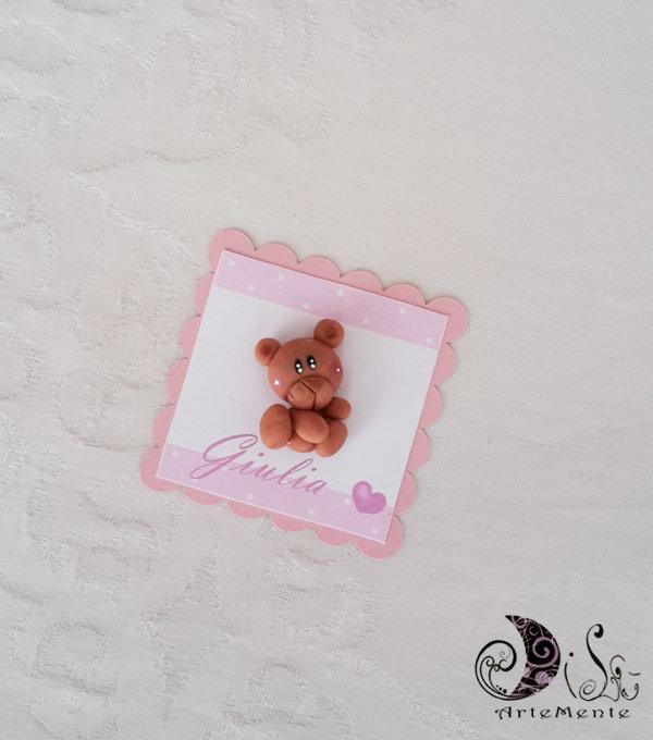 Card Art segnaposto battesimo bimba orsetto etichetta quadrata smerlata rosa