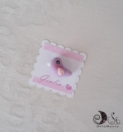 Card Art segnaposto battesimo bimba uccellini etichetta quadrata smerlata Bianca