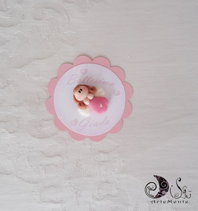 Card Art segnaposto battesimo comunione bimba angioletto etichetta tonda smerlata Rosa 6 cm