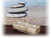 PORTA LUMINI  con legno di mare