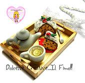 ☃ Natale In Dolcezze 2016 ☃ Collana Vassoio con panettone glassa e cioccolato, tè ,  teiera e tazza con fetta di limone