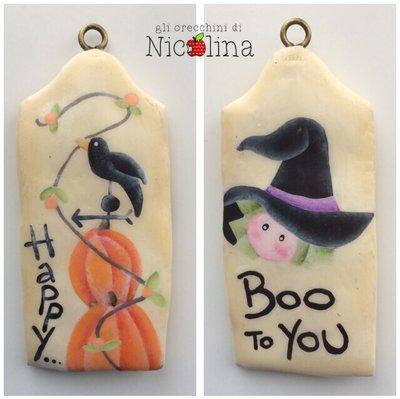 """Biglietto auguri  Halloween corvo e strega """"happy boo ti you"""""""