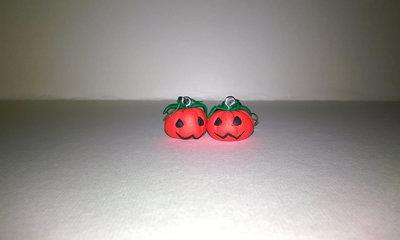 orecchini in fimo notte di halloween zucca