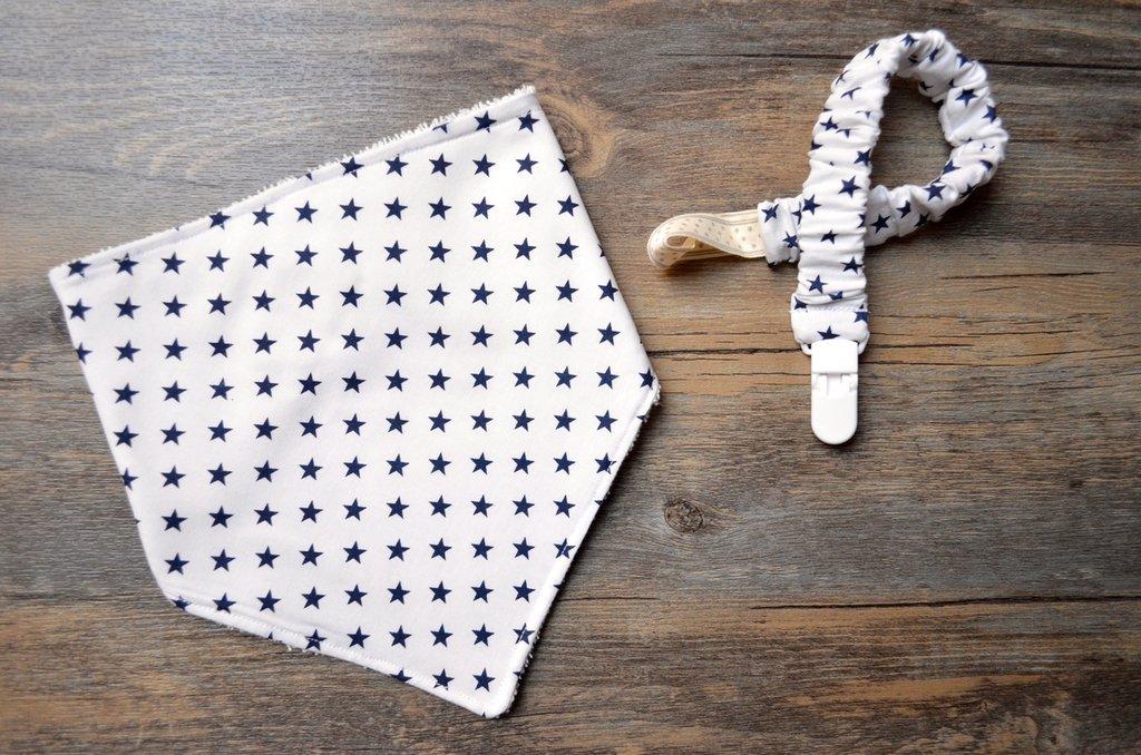 Set bavaglino bandana e reggiciuccio elastico