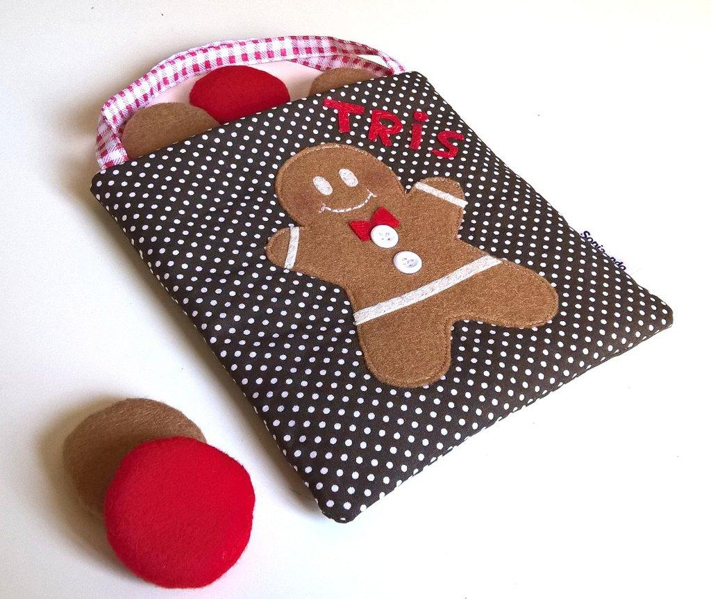 Natale - Gioco Tris Pan di zenzero in stoffa e feltro
