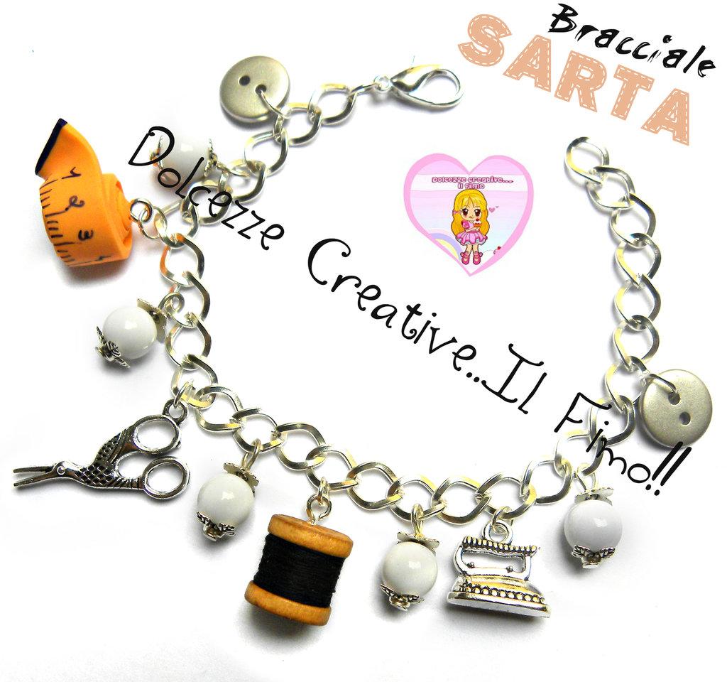 Bracciale sarta - forbici, bottoni ferro da stiro, cotone e metro - idea regalo