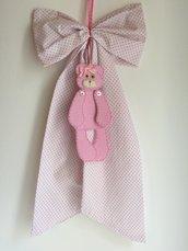 fiocco nascita bianco a pois rosa con orsetto