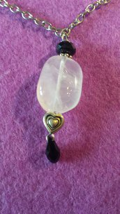 Girocollo catena con pendente in quarzo rosa più cristallo swarovski a gocciai nero jat