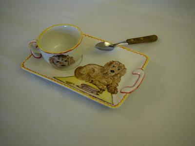 Vassoio prima colazione con cocker