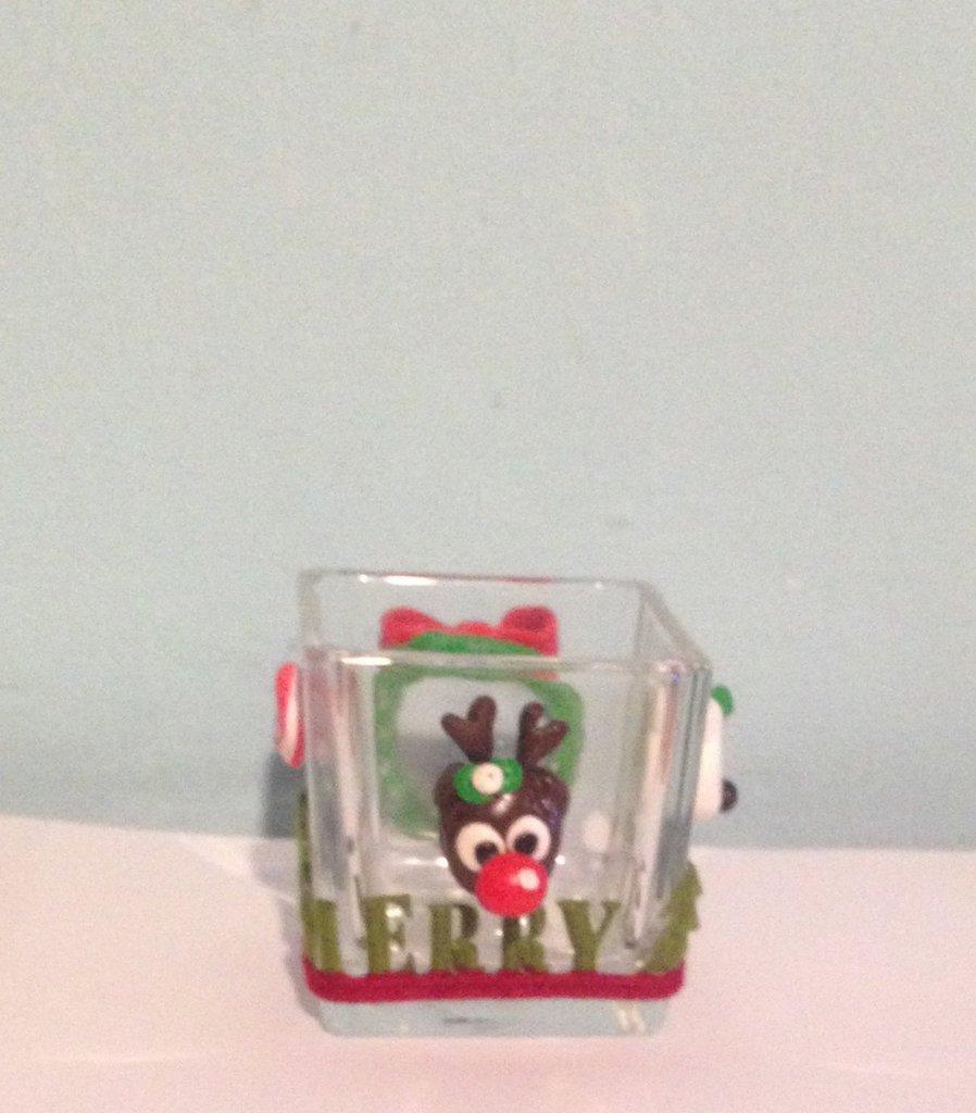 Portacandela in vetro natalizio