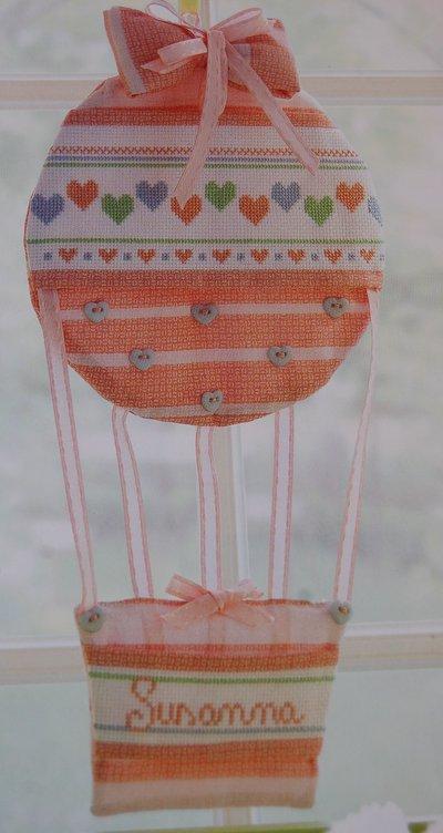 Fiocco Nascita Arredo a forma di Mongolfiera per Bimba