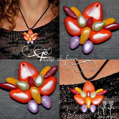 Parure in fimo -AsiaticButterfly- | ciondolo in fimo | orecchini in fimo| earrings and pendant| parure in pasta polimerica| gioielli farfalle asiatiche| jewels|