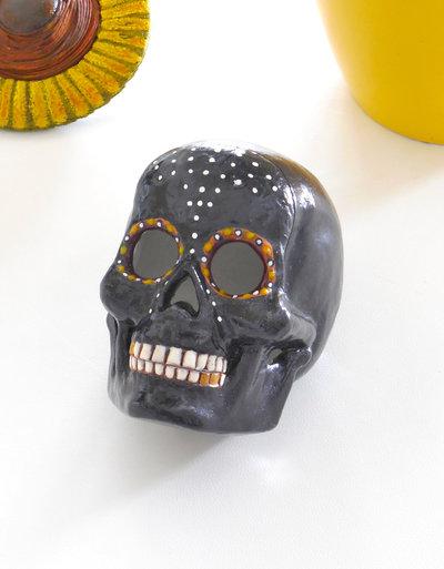 Teschio contenitore in ceramica, portaoggetti e portagioie, teschio messicano, idea regalo, skull, mexican skull